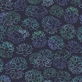 Vector succulents contours of blue and green colors seamless pattern on dark background. Floral design with water lilies. Royalty Free Stock Images