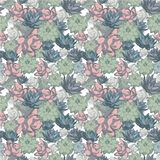 Succulent set of seamless vector patterns in pastel colors stock illustration