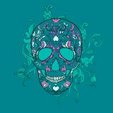 Vector Sugar Skull with ornament Stock Image