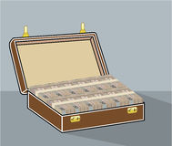 Vector Suitcase with Money Open Royalty Free Stock Image