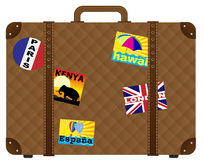 Vector Suitcase With Stickers Stock Photography