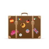 Vector suitcase with travel stickers Royalty Free Stock Photography