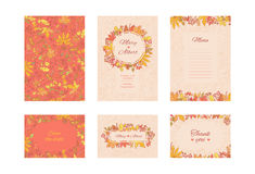 Vector suite wedding invitation card. Set frame cards with autumn leaves and berries. Collection decorative design Stock Images