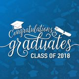 Vector sulla classe senza cuciture dei laureati 2018 di congratulazioni del fondo di graduazioni Immagine Stock Libera da Diritti