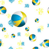 Vector summer background with beach balls Royalty Free Stock Images