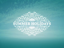 Vector Summer Background with blue sky and sea. Vintage frame for your text, example with Chaparral Pro Bold font Stock Photos