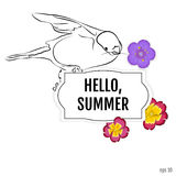 Vector summer background. Bullfinch with flowers primrose and po stock illustration