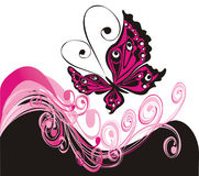 Vector summer background with butterfly Royalty Free Stock Images