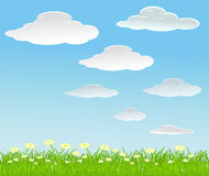 Vector summer background with clouds Stock Photos