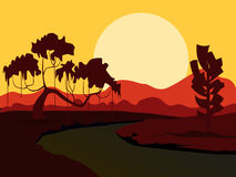 Vector summer background. Evening landscape. Royalty Free Stock Photography