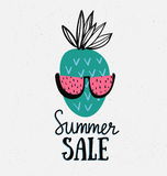Vector summer background with hand drawn pineapple with watermelon sunglasses and hand written text Summer sale. Royalty Free Stock Image