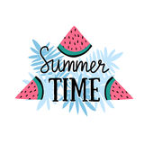 Vector summer background with hand drawn slices of watermelon, palm leaves and hand written text Summer time. Royalty Free Stock Images