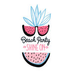 Vector summer background with hand drawn slices of watermelon, palm leaves, watermelon sunglasses. Stock Images