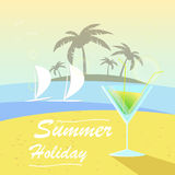 Vector summer background with holiday elements Royalty Free Stock Images