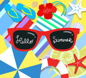 Vector summer background with holiday elements. Flat style Royalty Free Stock Photography