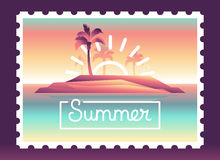 Vector summer background with illustration Royalty Free Stock Image