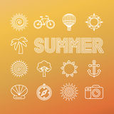 Vector summer banner and background in trendy linear style Stock Photography