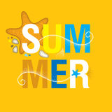Vector summer banner in trendy dotwork style. Square composition with abstract dotted waves, starfish, pebble, swirls. Stock Image