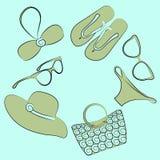 Vector summer beach accessories set. Vector summer beach accessories icon set collection Royalty Free Stock Photography