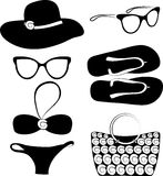Vector summer beach accessories set. Vector summer beach accessories icon set collection Stock Photos