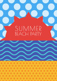 Vector summer beach background. Sun, sky, sea and sand with seam Stock Photography