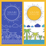 Vector summer beach, banner with place for text. Flat linear ill Stock Photography