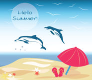 Vector Summer Beach Illustration Stock Images