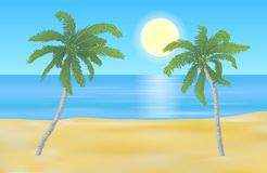 Vector summer beach landscape with yellow shaded sand and detail vector illustration