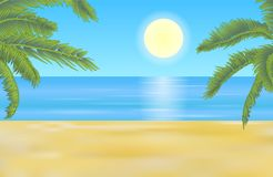 Vector summer beach landscape with yellow shaded sand and detail stock illustration