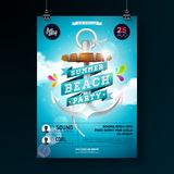 Vector Summer Beach Party Flyer Design with anchor and ribbon on blue cloudy sky background. Design template for banner. Flyer, invitation, poster stock illustration