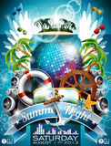 Vector Summer Beach Party Flyer Design with disco ball Royalty Free Stock Images