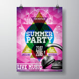 Vector Summer Beach Party Flyer Design with headphone and typographic elements on abstract background. Royalty Free Stock Image