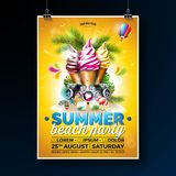 Vector Summer Beach Party Flyer Design with Ice Cream and Speakers on Shiny Background. Tropical plants, flower. Sunglasses, beach ball and air balloon with royalty free illustration