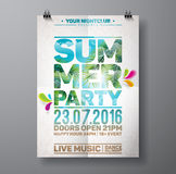 Vector Summer Beach Party Flyer Design with palm leaves  Stock Photography