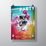 Vector Summer Beach Party Flyer Design with speakers on color background. Royalty Free Stock Photos