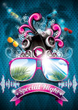 Vector Summer Beach Party Flyer Design with speakers royalty free illustration