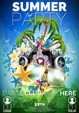 Vector Summer Beach Party Flyer Design with speakers. And sunglasses on blue background Royalty Free Stock Photography