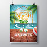 Vector Summer Beach Party Flyer Design with sunglasses on ocean landscape background.  Stock Photos