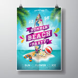 Vector Summer Beach Party Flyer Design with surf board and paradise island Royalty Free Stock Photography