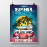 Vector Summer Beach Party Flyer Design with travel van and surf board  Royalty Free Stock Image