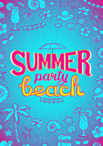Vector summer beach party flyer design on turquoise background with floral elements, seashells, starfish,  beverage, umbrella, sun. Glasses, palm trees, hat Royalty Free Stock Images