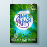 Vector Summer Beach Party Flyer Design with typographic design on nature background with palm leaves. Stock Photos