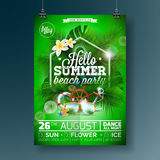 Vector Summer Beach Party Flyer Design with typographic design on nature background with palm leaves. Eps10 illustration Royalty Free Stock Photo