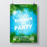 Vector Summer Beach Party Flyer Design with typographic design on nature background with palm trees. Royalty Free Stock Photo