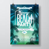 Vector Summer Beach Party Flyer Design with typographic design on nature background with palm trees. Royalty Free Stock Image