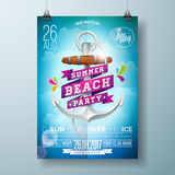 Vector Summer Beach Party Flyer Design with typographic design on nature background with palm trees and sunglasses. Royalty Free Stock Photo