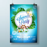 Vector Summer Beach Party Flyer Design with typographic design on nature background with palm trees and sunglasses. Eps10 illustration Royalty Free Stock Image