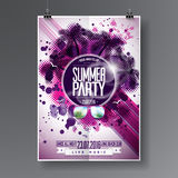Vector Summer Beach Party Flyer Design with typographic  elements on abstract background. Palm trees and sunglasses. Royalty Free Stock Images