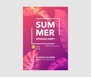Vector Summer Beach Party Flyer Design with typographic elements stock illustration