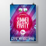Vector Summer Beach Party Flyer Design with typographic elements and copy space on color palm background. Stock Photo